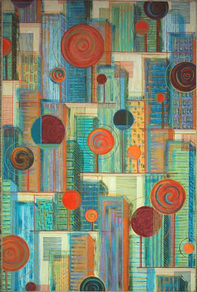 Peinture acrylique paysage urbain abstrait