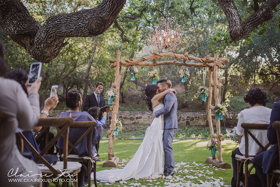 Oak Canyon Ranch Wedding First Kiss