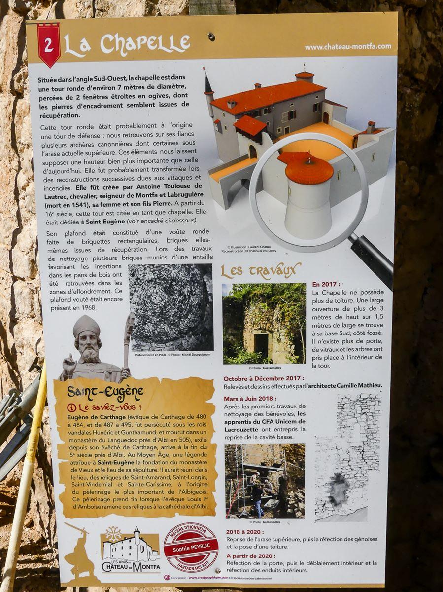 Panneau explicatif château de Montfa