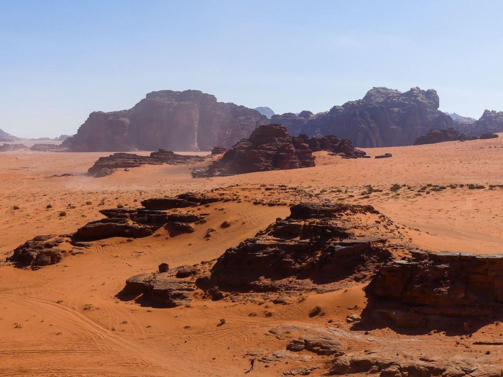 La vue sur le désert du Wadi Rum depuis la dune