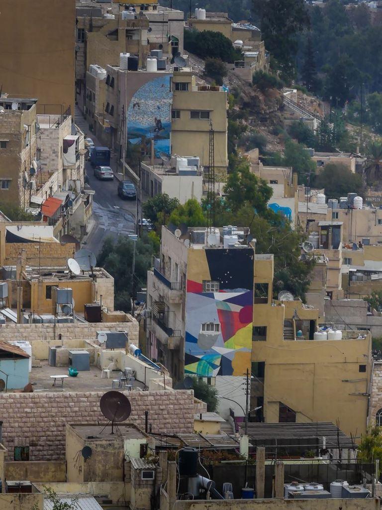 Jordanie - Amman - vue de la citadelle - street art