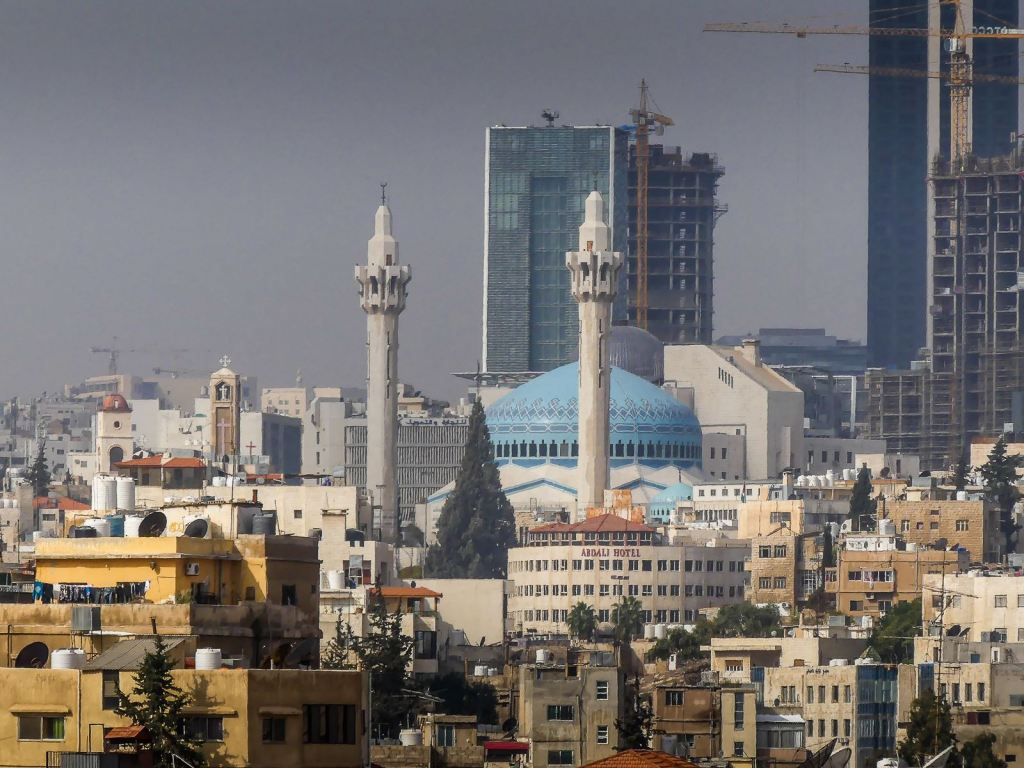 Jordanie - Amman - vue de la citadelle - mosquée bleue