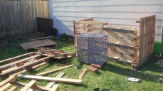 The remaining flat pallet was put up to form part of the front of the coup.