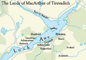A map showing the Clan MacArthur Lands of Loch Awe