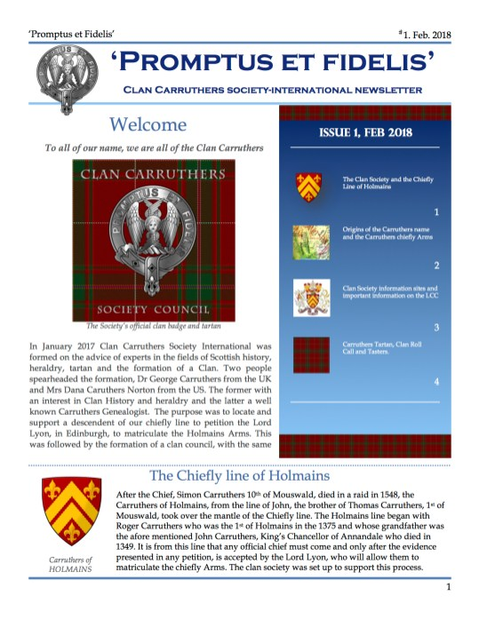 Clan Carruthers Society Feb 18 NEWSLETTER