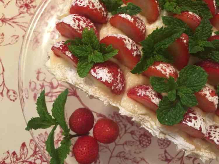 Lemon Cake with Lemon Buttercream and Fresh Strawberries