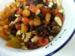 bowl of mixed dried fruit