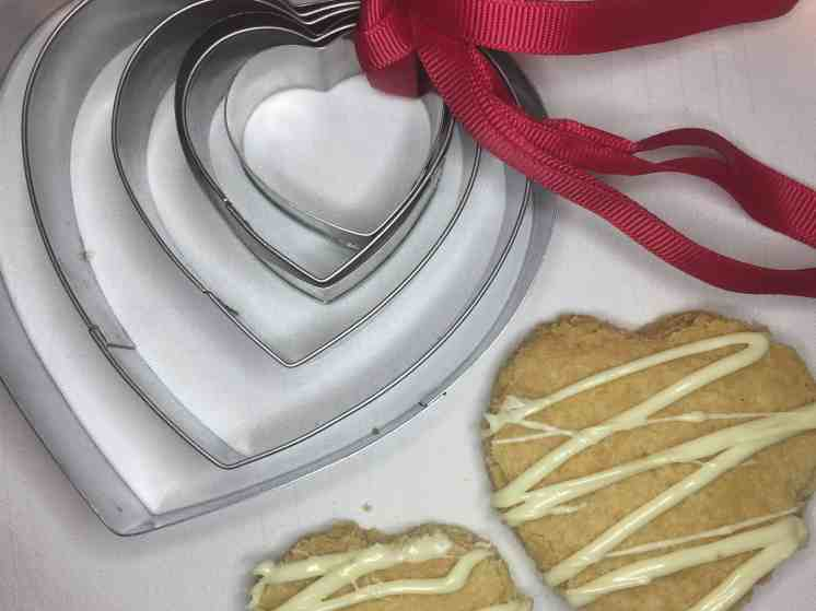 Shortbread heart shaped biscuit with heart shaped cookie cutters