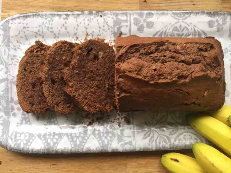 Slices of Banana and chocolate loaf