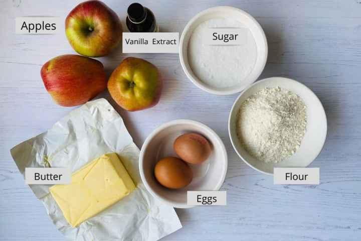List of ingredients for Apple Sponge Eve's Pudding