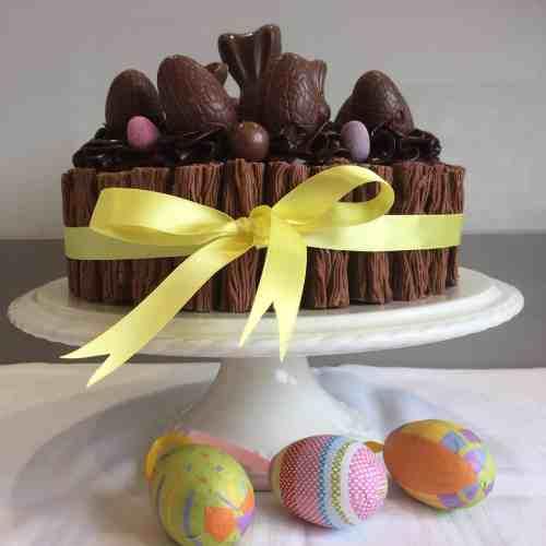 Chocolate Cake on a white cake stand