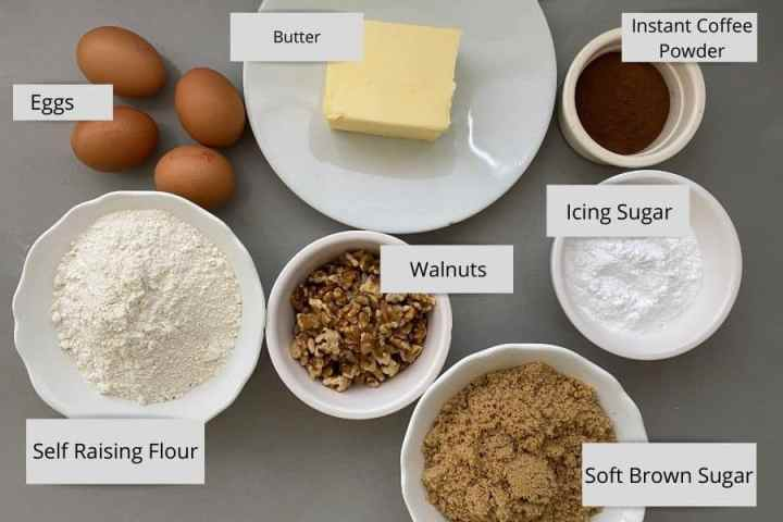 Coffee and Walnut Ingredients in white dishes