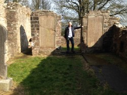 Laurence at Layde Cemetery, by the plaques.