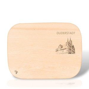 Holzbrett mit dem Duderstädter Rathaus