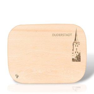 Holzbrett mit dem Duderstädter Westerturm