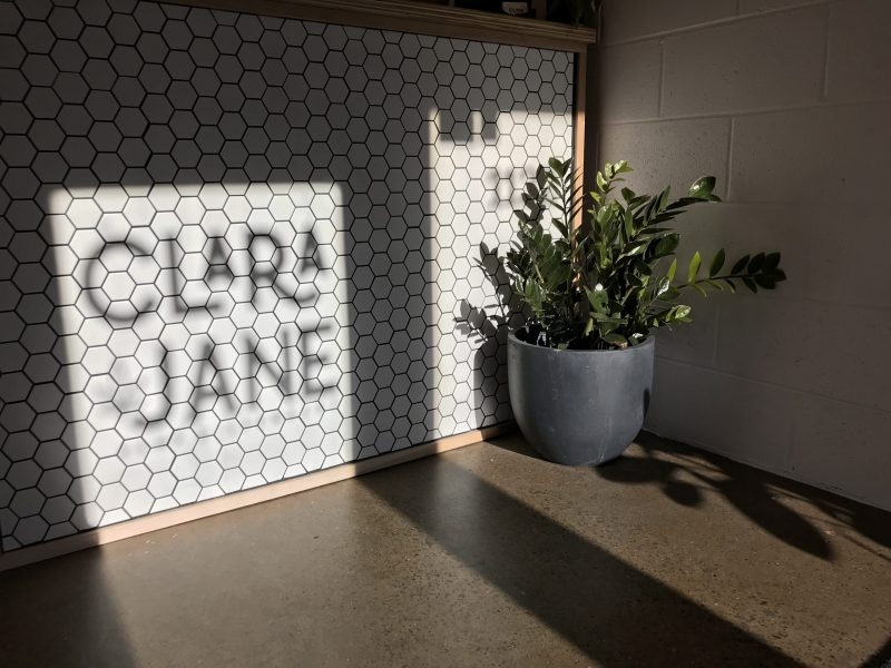 Interior of Clara Jane CBD store as the sun sets.