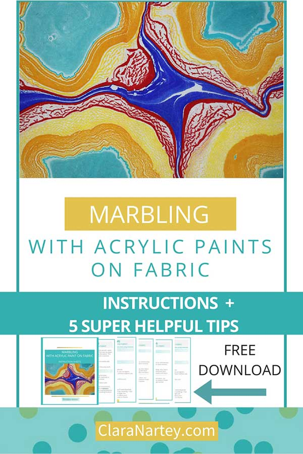 Instructions for marbling with acrylics on fabric