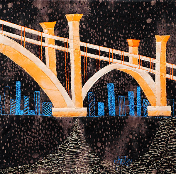 """""""Skyline Under the Bridge"""" - Number 26 in the Stitched Drawing Series"""