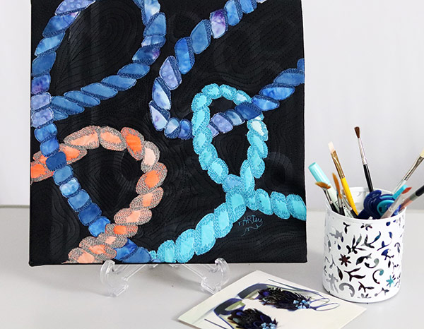 Mount fabric art on canvas |Lovecicles | fiber art | fabric collage | fibre art | textile art | art textiles | art quilt on canvas