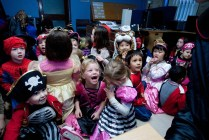 Fear and laughter for Ennis National School Senior Infants when they visited The Clare Champion Offices in Barrack Street during the annual Ennis National School Hallowe'en Hobble