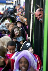 A scary head appears from a shop doorway during the annual Ennis National School Hallowe'en Hobble