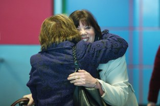 Jane Braithwaite is greeted by her mother Monica Hennessy as she arrives home for Christmas at Shannon airport. Photograph by John Kelly.