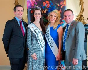 At the launch of the 2014 Clare Rose selection at The Rowan Tree in Ennis were, from left, Ciarán O'Connell, Clare Rose of Tralee chairman; Haley O'Sullivan, International Rose of Tralee; Newmarket's Marie Donnellan, 2013 Clare Rose of Tralee and Steve Cronly, Rose of Tralee commercial manager. Photograph by John Mangan