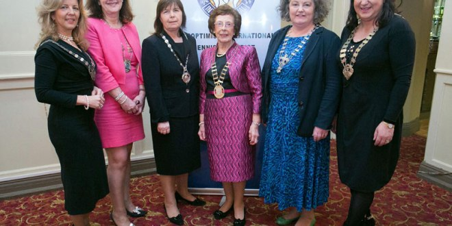 Jacqueline Higgins, Tralee president; Clare president Deirdre O'Donnell; Noreen Walsh, national president; Mayor of Ennis Mary Coote-Ryan, Anne Harrington, Dublin president and Patricia Feeney, Athlone president.