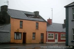Damage to the roof of a house in Kilkee. Photograph by Arthur Ellis
