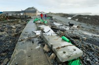 A view of the destruction on the main road in Kilbaha village which is cut off to traffic following the latest high seas and gales. Photograph by John Kelly.