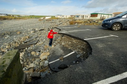Part of car parking area at White Strand, Miltown Malbay which was badly damaged in the recent storm. Photograph by John Kelly.
