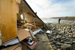 A wrecked mobile home at White Strand, Miltown Malbay following the latest high seas and gales. Photograph by John Kelly.