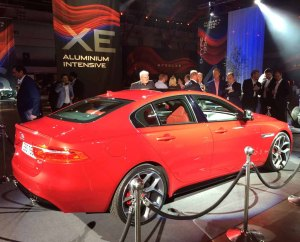 """The new S model of the Jaguar XE. This one has 20"""" wheels."""