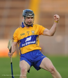 Tony Kelly of Clare celebrates a point against Wexford during the All-Ireland U-21 final in Semple Stadium, Thurles. Photograph by John Kelly.