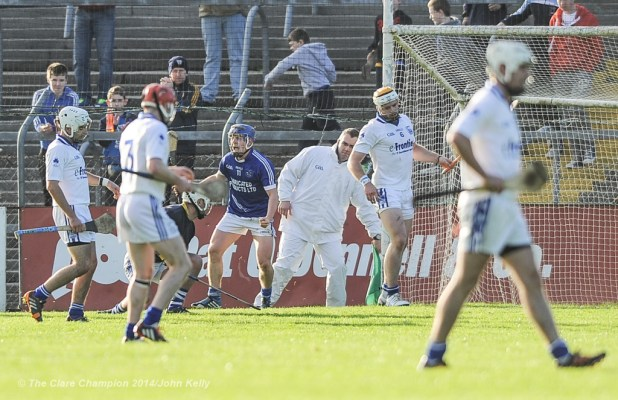 Podge Collins of Cratloe turns to celebrate his goal against Thurles Sarsfield's during their Munster Club quarter final in Cusack park. Photograph by John Kelly.