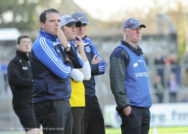 Cratloe manager Joe Mc Grath and his selectors on the sideline against Thurles Sarsfield's during their Munster Club quarter final in Cusack park. Photograph by John Kelly.