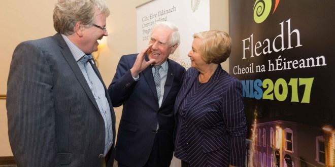 Rory Casey, Fleadh Cheoil, runaí with Lábhrás Ó Murchú and Tánaiste Frances Fitzgerald at the Legacy day colloquim at the Fleadh in Ennis at the weekend.