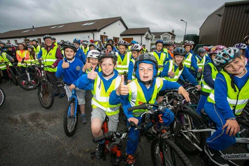 CBS pupils at the School Cycle at Ennis Fire Station on Wednesday