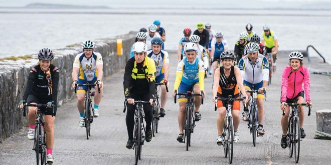 Seán Kelly leading out the cyclists at Ballyvaughan on Saturday.