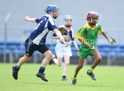 Brion Keenehan of Bridgetown in action against Martin Bon of Kilkishen/O Callaghan's Mills during their Schools Division 5 final at Cusack Park. Photograph by John Kelly