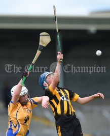 Conor Rynne of Inagh/Cloonanaha in action against Eoin Kennedy of Ballyea during their Schools Division 2 final at Cusack Park. Photograph by John Kelly
