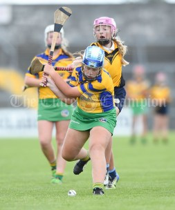 Orlaith Hehir of Inagh/Cloonanaha in action against Emily Geary of Clonlara during their Schools Division 1 final at Cusack Park. Photograph by John Kelly