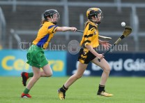 Georgia Whyte of Inagh/Cloonanaha in action against Aoife Kavanagh of Clonlara during their Schools Division 1 final at Cusack Park. Photograph by John Kelly