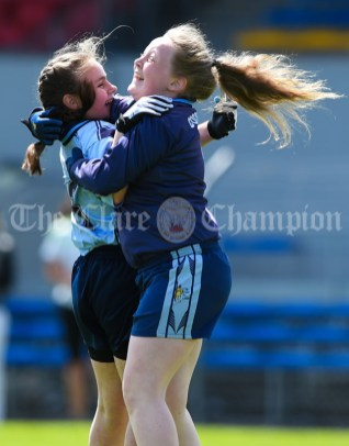 Marian Lynch and Isabella Kelly of Cooraclare/Cree/Clohanbeg celebrate the win over St Senan's Kilrush during their Division 2 LGFA Ladies Football Primary Schools final at Cusack park. Photograph by John Kelly