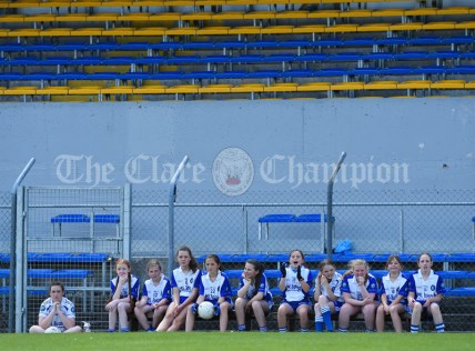 Best Seats In The House...Scoil Realt Na Mara, Kilkee/Moyasta NS substitutes on the sideline during their Division 3 LGFA Ladies Football Primary Schools final at Cusack park. Photograph by John Kelly