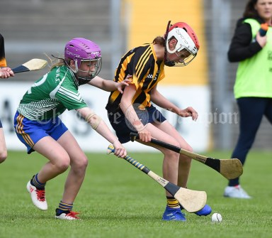 Shauna O Callaghan of Stonehall/Ballycar in action against Tara Murnane of Ogonelloe during their Schools Division 4 camogie final at Cusack Park. Photograph by John Kelly