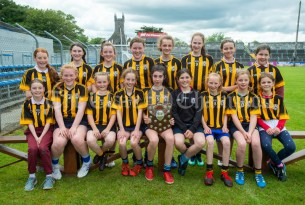 Ogonelloe team following the win over Stonehall/Ballycar in their Schools Division 4 camogie final at Cusack Park. Photograph by John Kelly