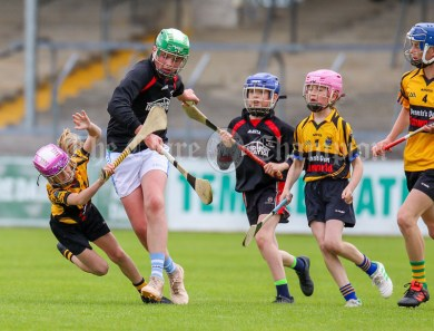120619 Boston/ Tubber/ Fanores Ruby Earley feels the pressure from Meelicks Ronan Ryan in the Division 6 hurling final.Pic Arthur Ellis