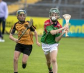 120619 Clooney Darragh White gets away from Clonmoneys Shaun Kenny during the Division 4 Hurling Clare Primary School Finals .Pic Arthur Ellis