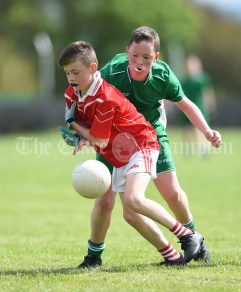 Dylan O Neill of Kilmurry Mc Mahon/Labasheeda in action against Steven Murphy of Rineen during their Primary Schools Div 4 Football 9-Aside final at Kilrush. Photograph by John Kelly